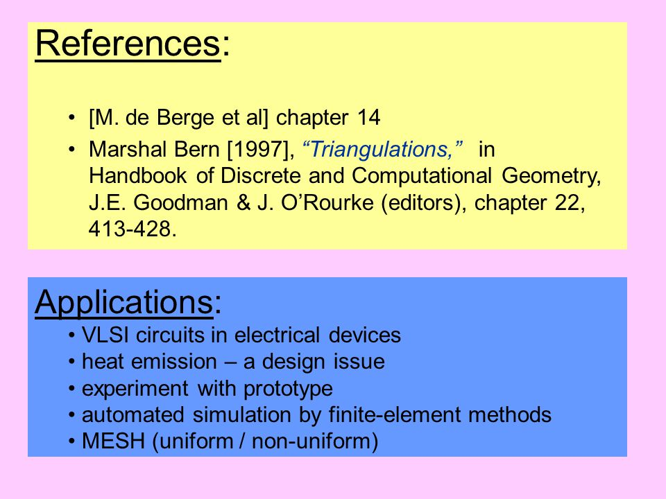 References: Applications: [M. de Berge et al] chapter 14